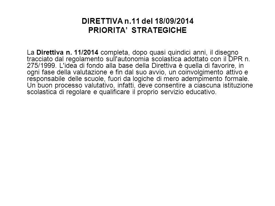 DIRETTIVA n.11 del 18/09/2014 PRIORITA' STRATEGICHE La Direttiva n. 11/2014 completa, dopo quasi quindici anni, il disegno tracciato dal regolamento s