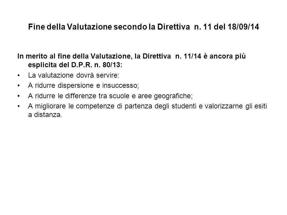 Fine della Valutazione secondo la Direttiva n. 11 del 18/09/14 In merito al fine della Valutazione, la Direttiva n. 11/14 è ancora più esplicita del D