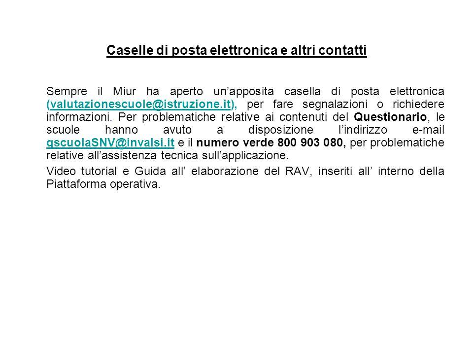 Caselle di posta elettronica e altri contatti Sempre il Miur ha aperto un'apposita casella di posta elettronica (valutazionescuole@istruzione.it), per