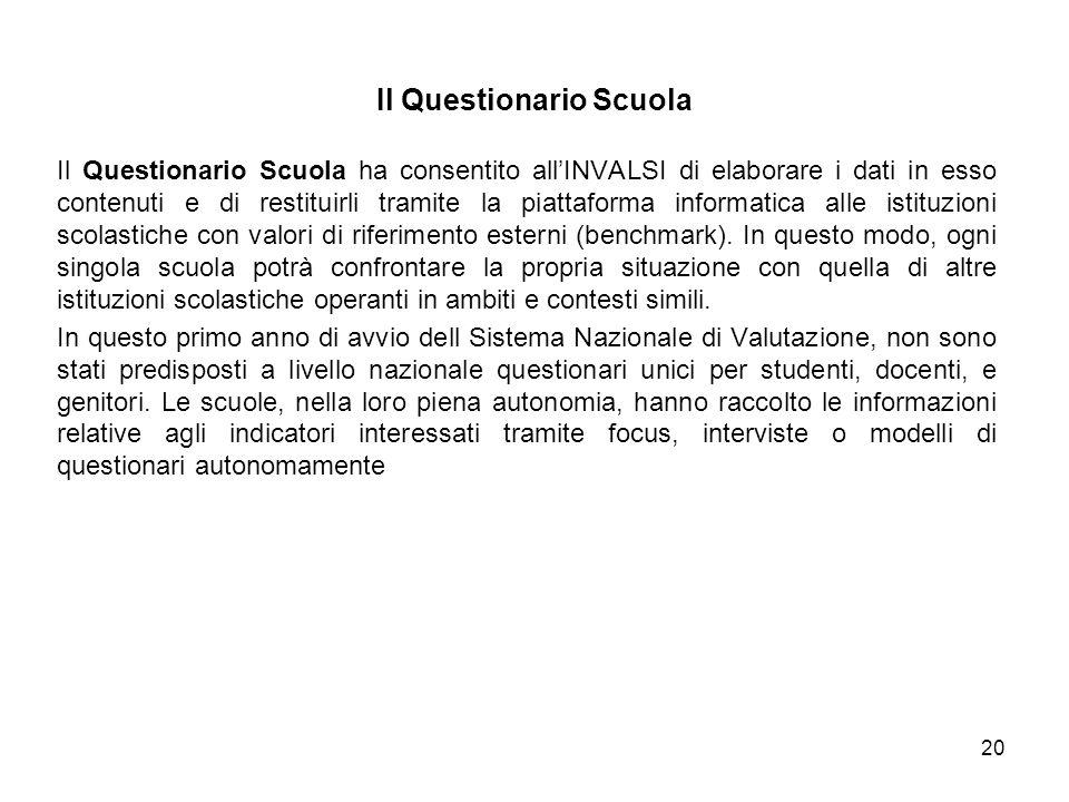 Il Questionario Scuola ha consentito all'INVALSI di elaborare i dati in esso contenuti e di restituirli tramite la piattaforma informatica alle istituzioni scolastiche con valori di riferimento esterni (benchmark).