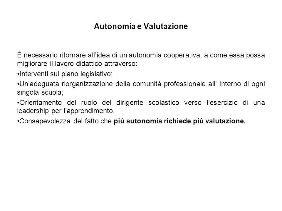 Autonomia e Valutazione È necessario ritornare all'idea di un'autonomia cooperativa, a come essa possa migliorare il lavoro didattico attraverso: Inte