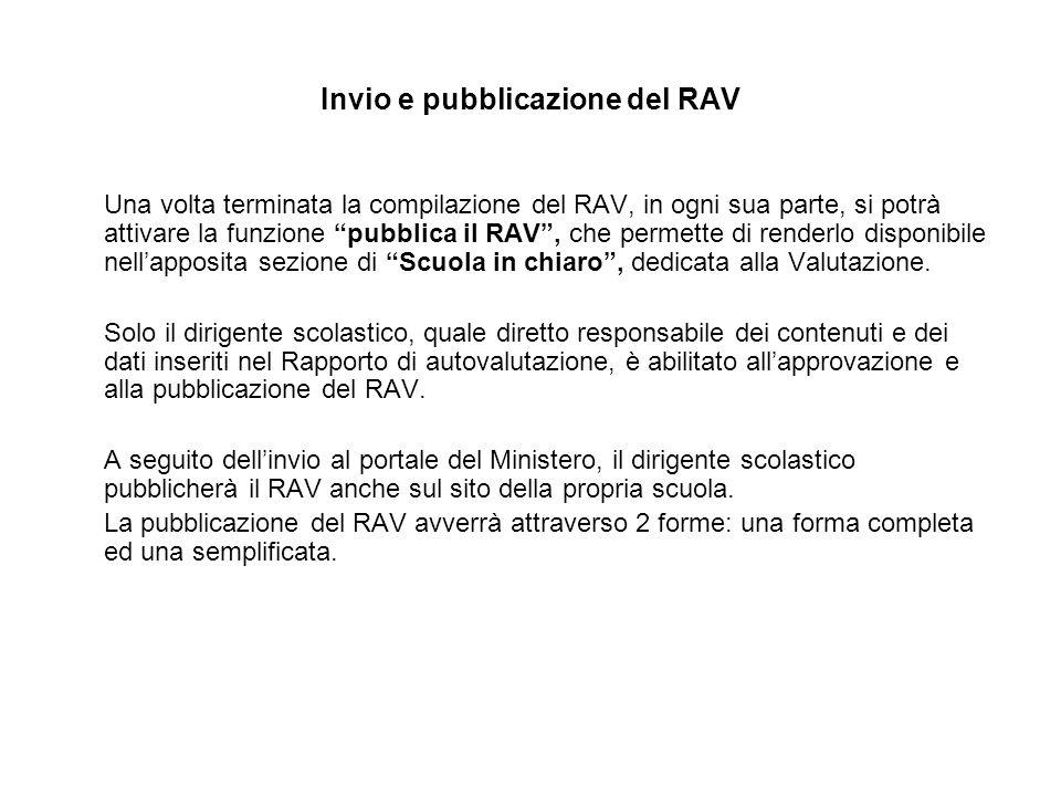 Invio e pubblicazione del RAV Una volta terminata la compilazione del RAV, in ogni sua parte, si potrà attivare la funzione pubblica il RAV , che permette di renderlo disponibile nell'apposita sezione di Scuola in chiaro , dedicata alla Valutazione.