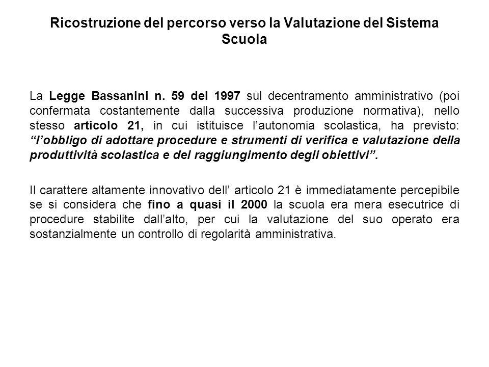 Ricostruzione del percorso verso la Valutazione del Sistema Scuola La Legge Bassanini n. 59 del 1997 sul decentramento amministrativo (poi confermata