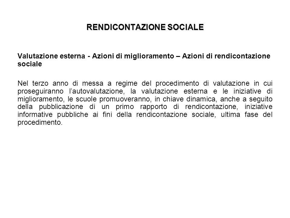 RENDICONTAZIONE SOCIALE Valutazione esterna - Azioni di miglioramento – Azioni di rendicontazione sociale Nel terzo anno di messa a regime del procedi