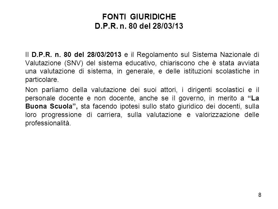 Il D.P.R. n. 80 del 28/03/2013 e il Regolamento sul Sistema Nazionale di Valutazione (SNV) del sistema educativo, chiariscono che è stata avviata una
