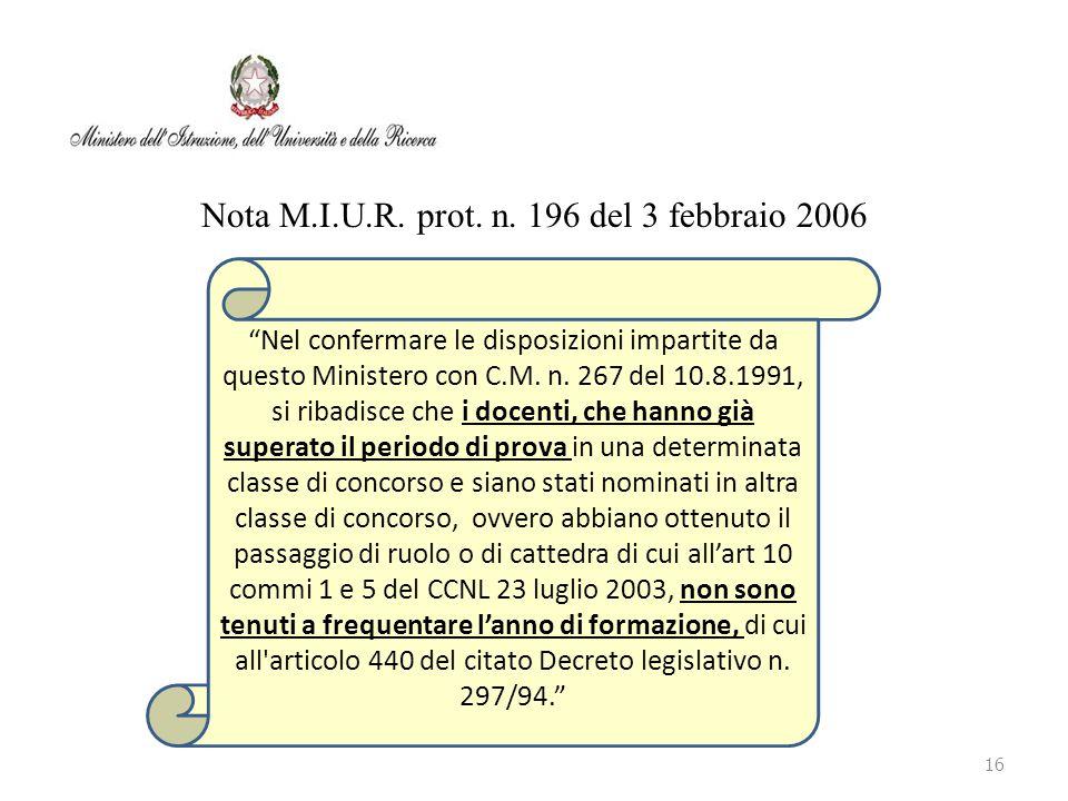 """Nota M.I.U.R. prot. n. 196 del 3 febbraio 2006 16 """"Nel confermare le disposizioni impartite da questo Ministero con C.M. n. 267 del 10.8.1991, si riba"""