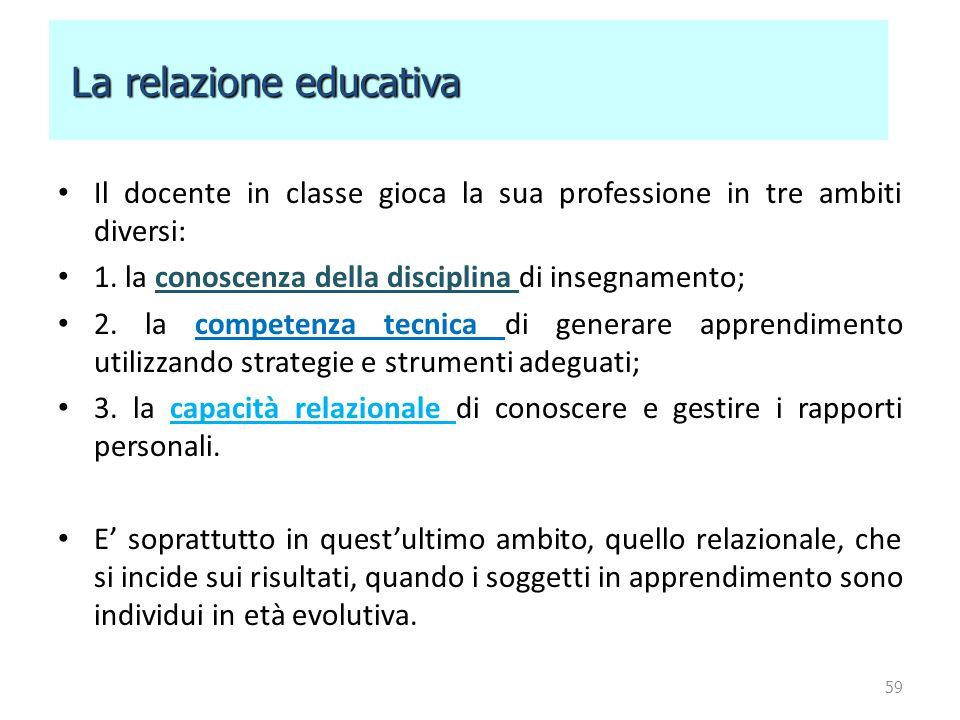 Il docente in classe gioca la sua professione in tre ambiti diversi: 1. la conoscenza della disciplina di insegnamento; 2. la competenza tecnica di ge