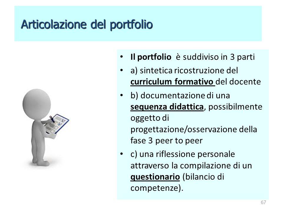 Il portfolio è suddiviso in 3 parti a) sintetica ricostruzione del curriculum formativo del docente b) documentazione di una sequenza didattica, possi