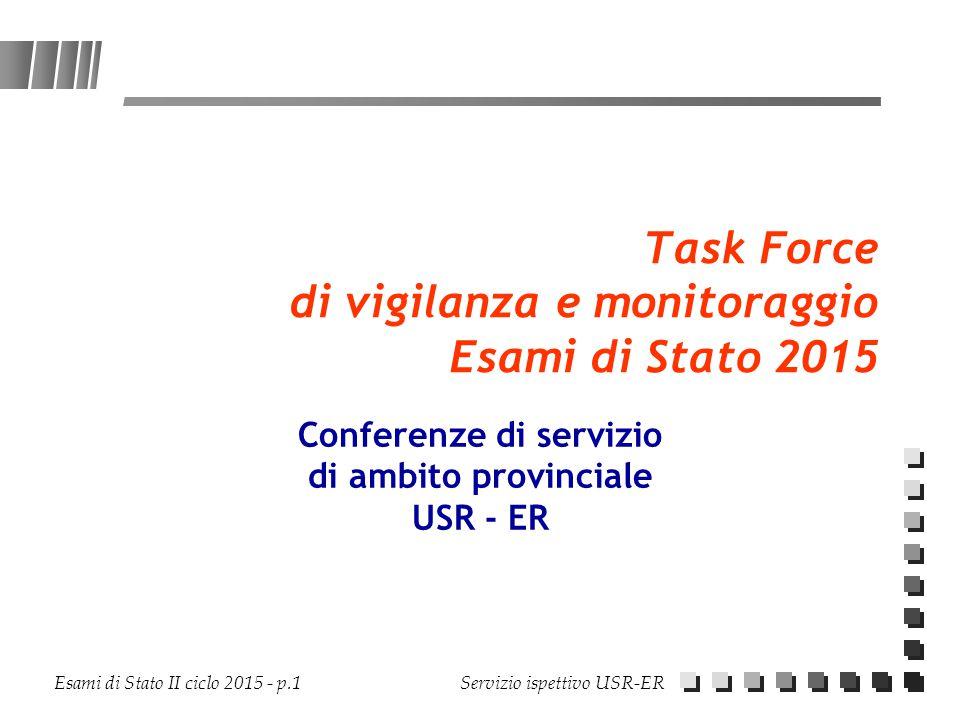Esami di Stato II ciclo 2015 - p.1 Servizio ispettivo USR-ER Task Force di vigilanza e monitoraggio Esami di Stato 2015 Conferenze di servizio di ambi