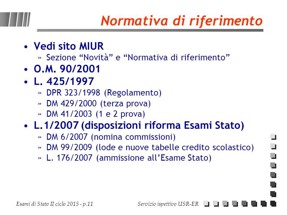 """Esami di Stato II ciclo 2015 - p.11 Servizio ispettivo USR-ER Normativa di riferimento Vedi sito MIUR »Sezione """"Novità"""" e """"Normativa di riferimento"""" O"""