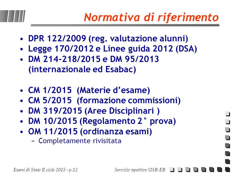 Esami di Stato II ciclo 2015 - p.12 Servizio ispettivo USR-ER Normativa di riferimento DPR 122/2009 (reg. valutazione alunni) Legge 170/2012 e Linee g