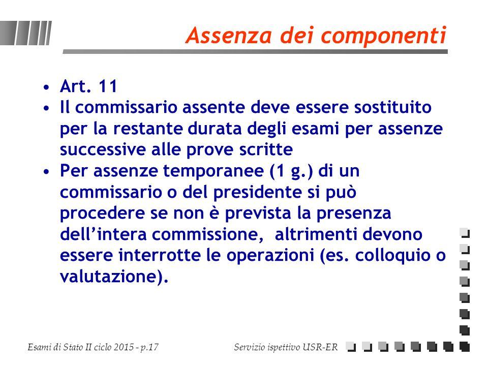 Esami di Stato II ciclo 2015 - p.17 Servizio ispettivo USR-ER Assenza dei componenti Art. 11 Il commissario assente deve essere sostituito per la rest