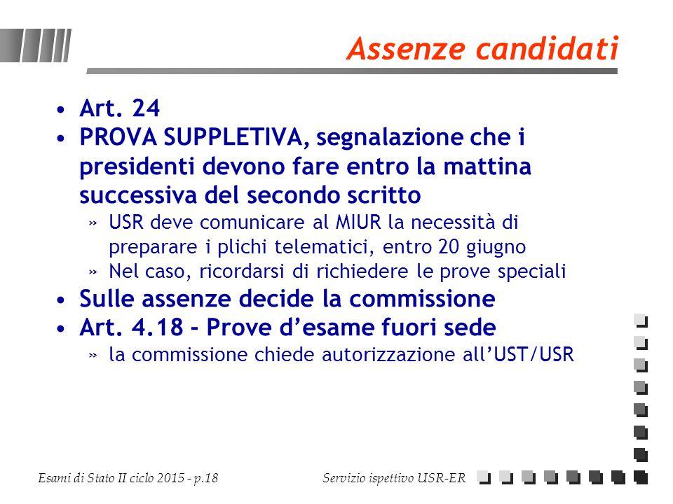 Esami di Stato II ciclo 2015 - p.18 Servizio ispettivo USR-ER Assenze candidati Art. 24 PROVA SUPPLETIVA, segnalazione che i presidenti devono fare en