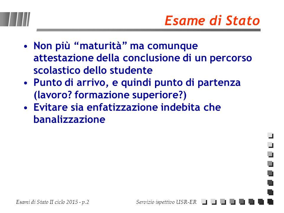 """Esami di Stato II ciclo 2015 - p.2 Servizio ispettivo USR-ER Esame di Stato Non più """"maturità"""" ma comunque attestazione della conclusione di un percor"""