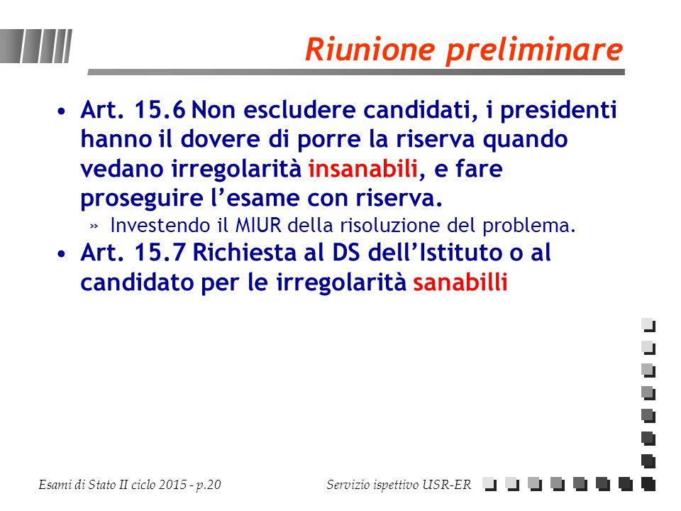 Esami di Stato II ciclo 2015 - p.20 Servizio ispettivo USR-ER Riunione preliminare Art. 15.6Non escludere candidati, i presidenti hanno il dovere di p