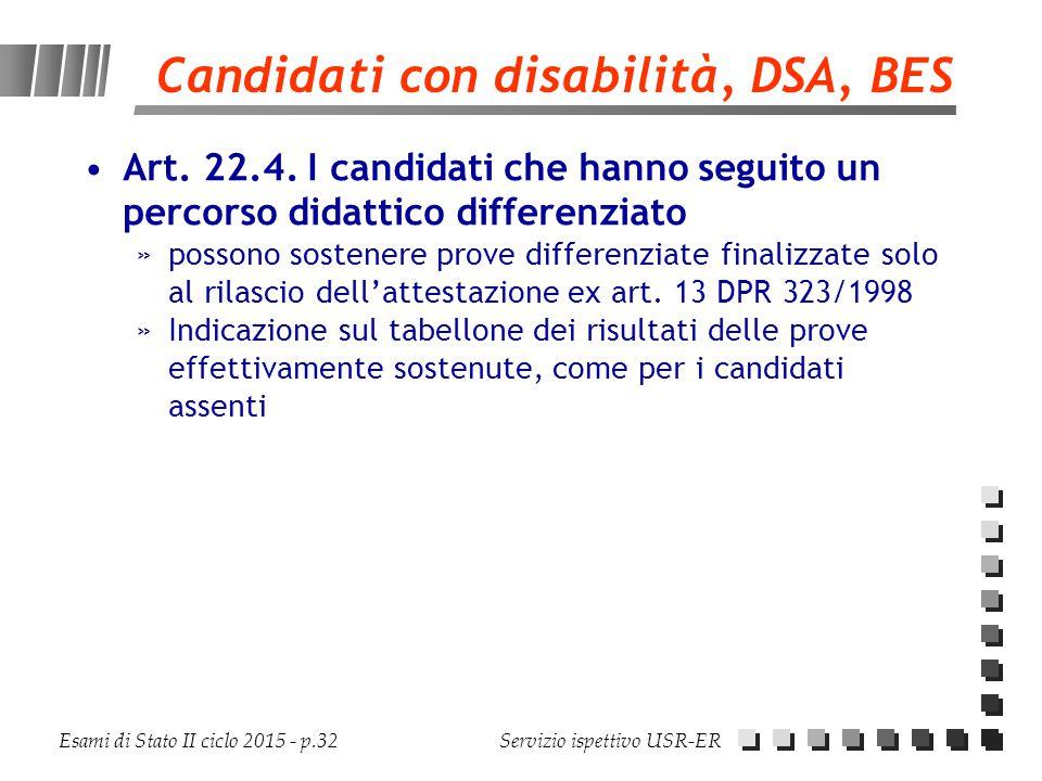 Esami di Stato II ciclo 2015 - p.32 Servizio ispettivo USR-ER Candidati con disabilità, DSA, BES Art. 22.4. I candidati che hanno seguito un percorso