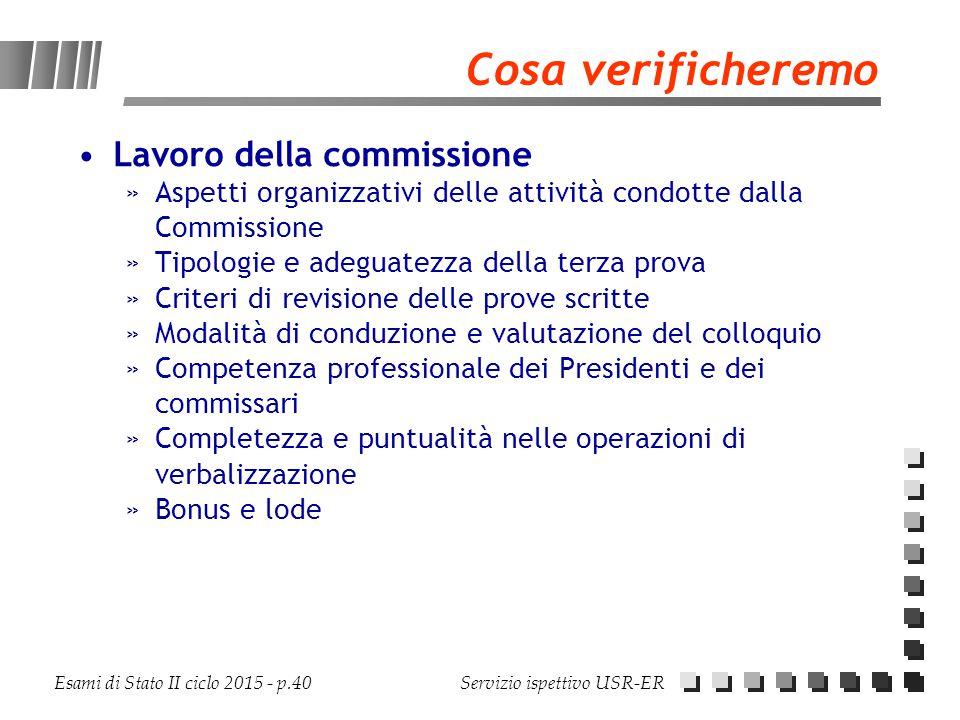 Esami di Stato II ciclo 2015 - p.40 Servizio ispettivo USR-ER Cosa verificheremo Lavoro della commissione »Aspetti organizzativi delle attività condot