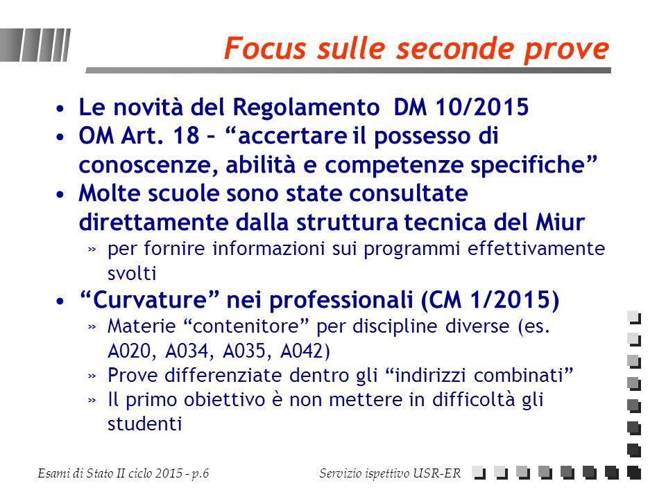 """Esami di Stato II ciclo 2015 - p.6 Servizio ispettivo USR-ER Focus sulle seconde prove Le novità del Regolamento DM 10/2015 OM Art. 18 – """"accertare il"""