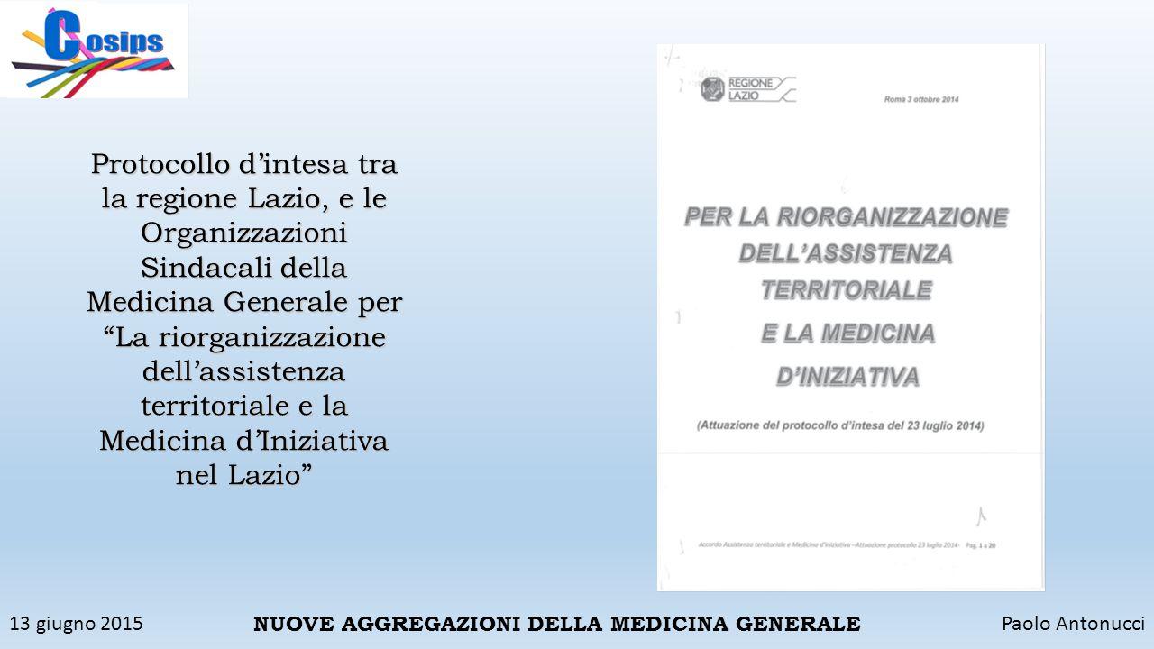 13 giugno 2015Paolo Antonucci NUOVE AGGREGAZIONI DELLA MEDICINA GENERALE Protocollo d'intesa tra la regione Lazio, e le Organizzazioni Sindacali della