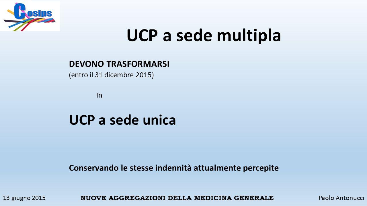 13 giugno 2015Paolo Antonucci NUOVE AGGREGAZIONI DELLA MEDICINA GENERALE UCP a sede multipla DEVONO TRASFORMARSI (entro il 31 dicembre 2015) In UCP a