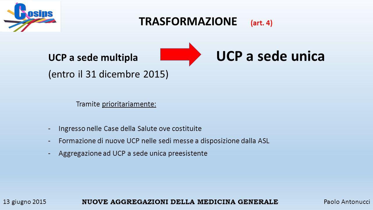 13 giugno 2015Paolo Antonucci NUOVE AGGREGAZIONI DELLA MEDICINA GENERALE TRASFORMAZIONE (art. 4) UCP a sede multipla UCP a sede unica (entro il 31 dic
