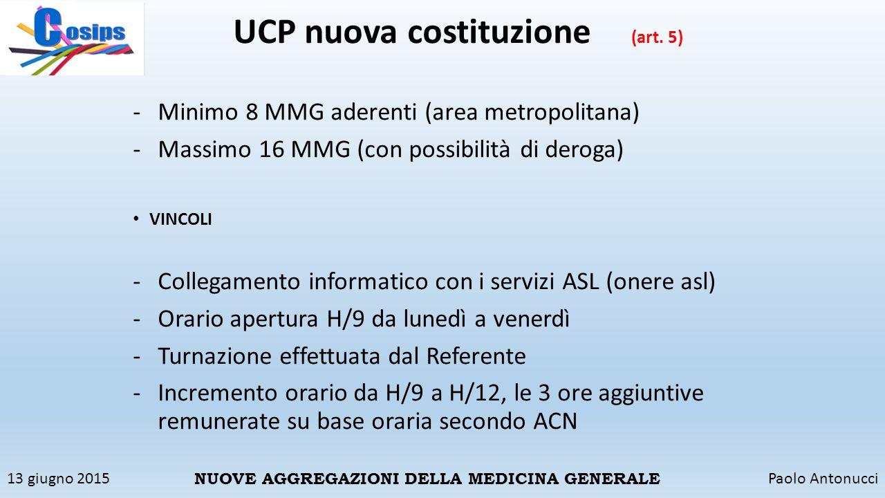 13 giugno 2015Paolo Antonucci NUOVE AGGREGAZIONI DELLA MEDICINA GENERALE UCP nuova costituzione (art. 5) -Minimo 8 MMG aderenti (area metropolitana) -