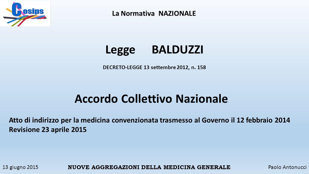 13 giugno 2015Paolo Antonucci NUOVE AGGREGAZIONI DELLA MEDICINA GENERALE La NormativaNAZIONALE LeggeBALDUZZI DECRETO-LEGGE 13 settembre 2012, n. 158 A