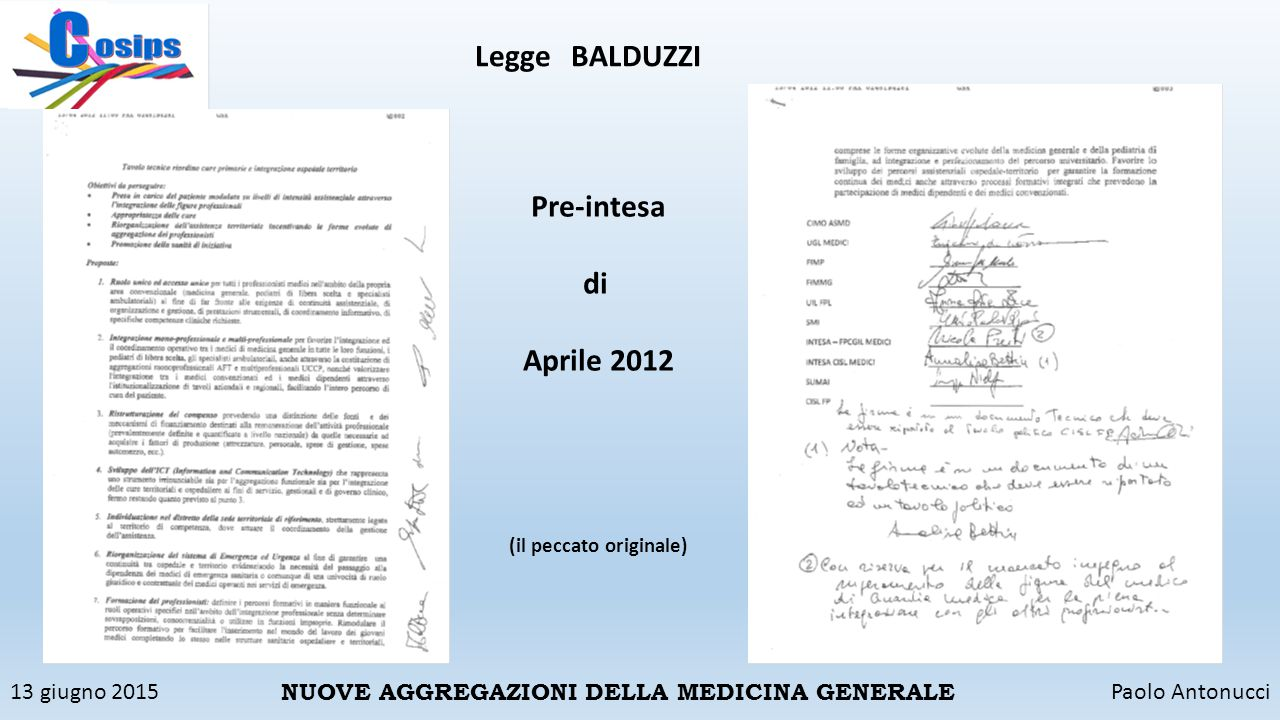 13 giugno 2015Paolo Antonucci NUOVE AGGREGAZIONI DELLA MEDICINA GENERALE LeggeBALDUZZI Pre-intesa di Aprile 2012 (il peccato originale)