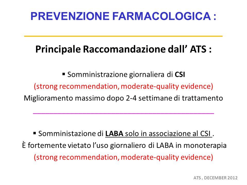 PREVENZIONE FARMACOLOGICA : Principale Raccomandazione dall' ATS :  Somministrazione giornaliera di CSI (strong recommendation, moderate-quality evidence) Miglioramento massimo dopo 2-4 settimane di trattamento ____________________________________________  Somministazione di LABA solo in associazione al CSI.