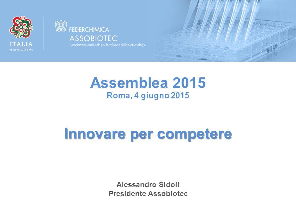 Alessandro Sidoli Presidente Assobiotec Innovare per competere Assemblea 2015 Roma, 4 giugno 2015