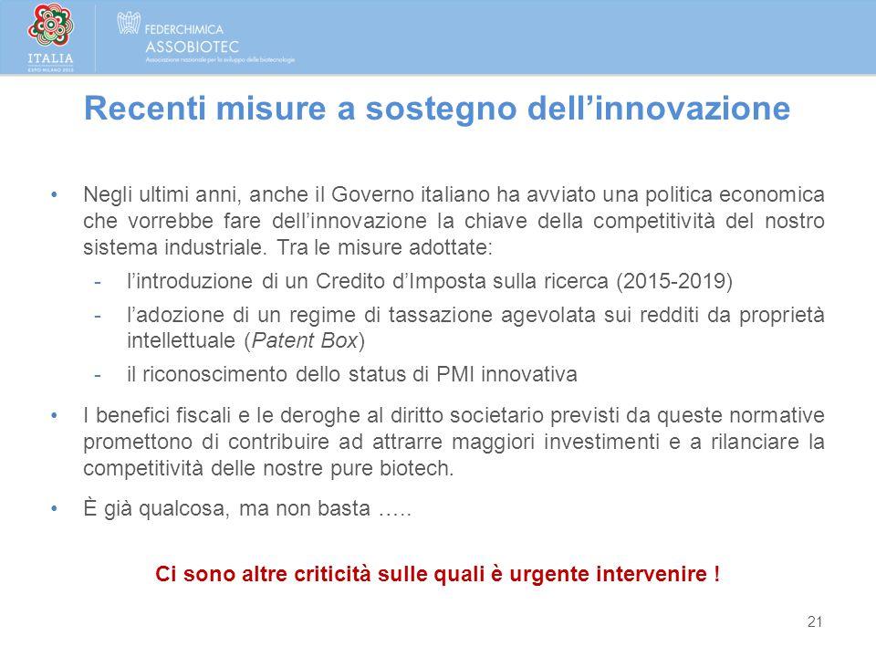 21 Negli ultimi anni, anche il Governo italiano ha avviato una politica economica che vorrebbe fare dell'innovazione la chiave della competitività del