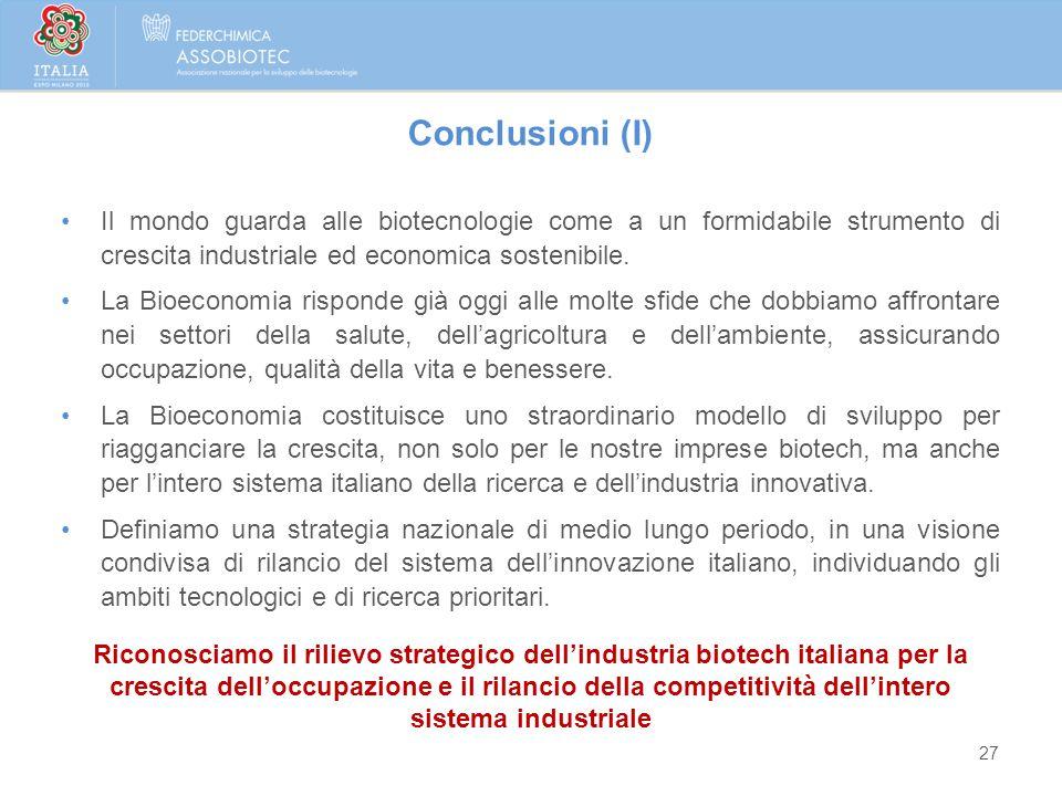 27 Conclusioni (I) Il mondo guarda alle biotecnologie come a un formidabile strumento di crescita industriale ed economica sostenibile. La Bioeconomia