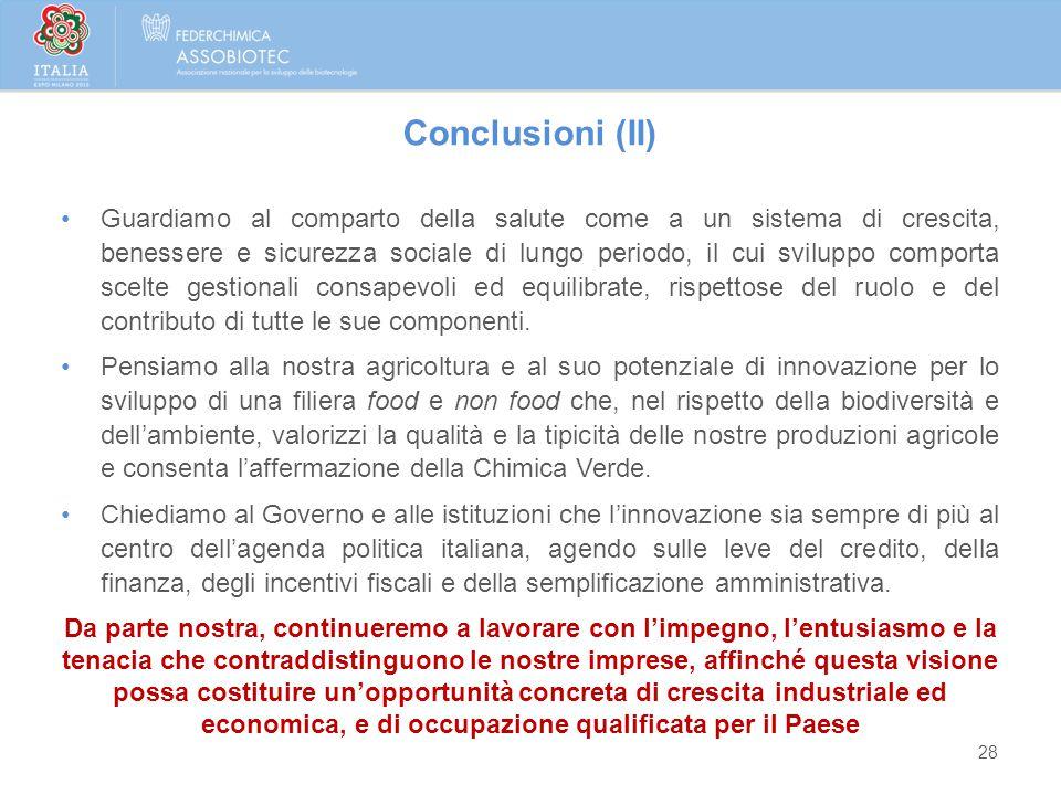 28 Conclusioni (II) Guardiamo al comparto della salute come a un sistema di crescita, benessere e sicurezza sociale di lungo periodo, il cui sviluppo