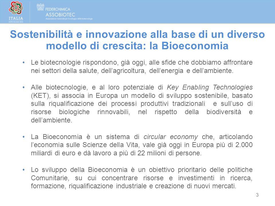 Sostenibilità e innovazione alla base di un diverso modello di crescita: la Bioeconomia 3 Le biotecnologie rispondono, già oggi, alle sfide che dobbia