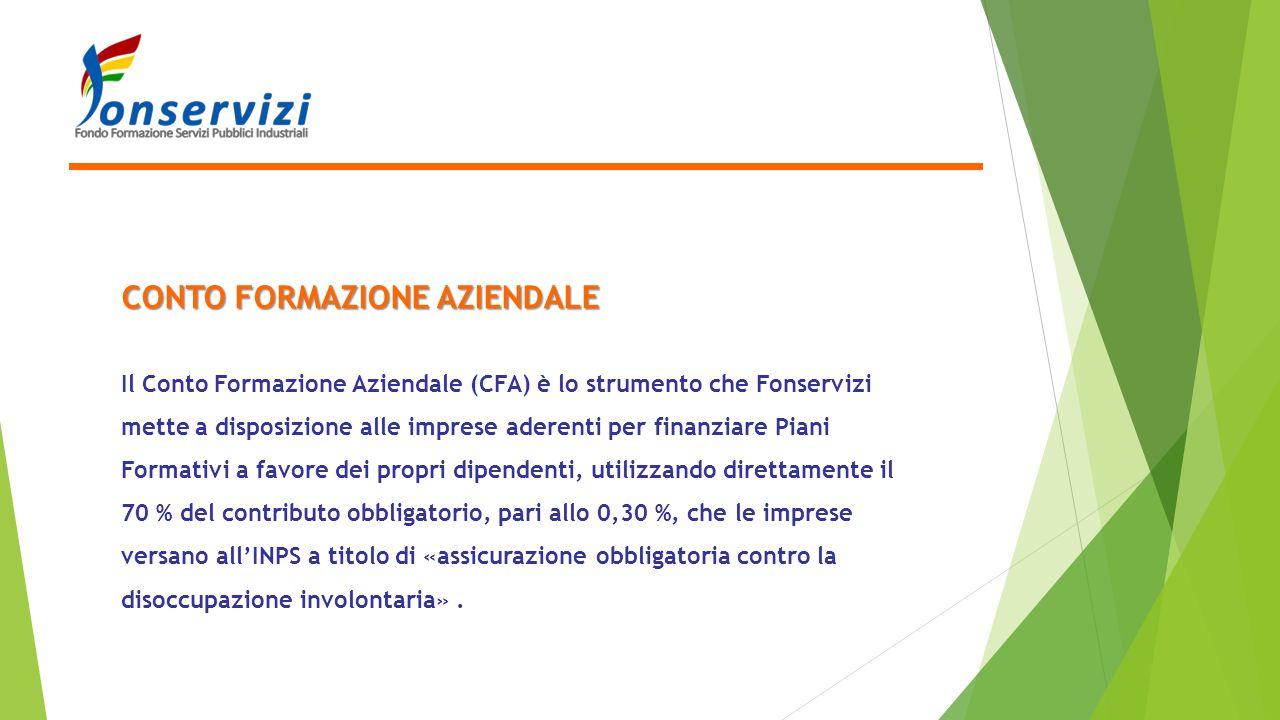 CONTO FORMAZIONE AZIENDALE Il Conto Formazione Aziendale (CFA) è lo strumento che Fonservizi mette a disposizione alle imprese aderenti per finanziare