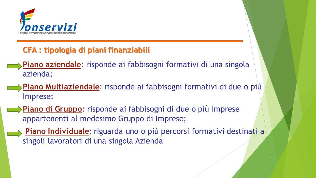 CFA : tipologia di piani finanziabili Piano aziendale: risponde ai fabbisogni formativi di una singola azienda; Piano Multiaziendale: risponde ai fabb