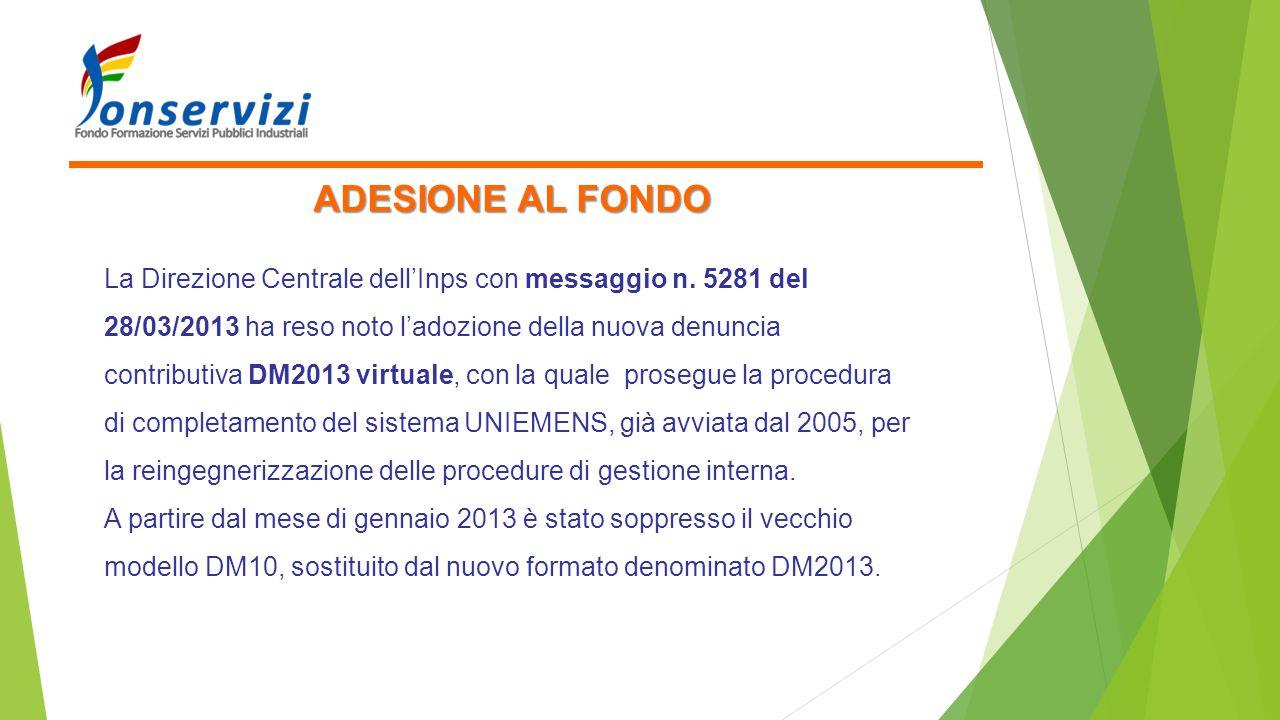 ADESIONE AL FONDO La Direzione Centrale dell'Inps con messaggio n. 5281 del 28/03/2013 ha reso noto l'adozione della nuova denuncia contributiva DM201