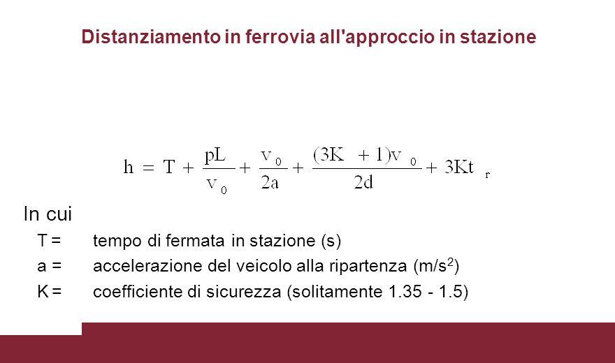 Distanziamento in ferrovia all'approccio in stazione In cui T =tempo di fermata in stazione (s) a =accelerazione del veicolo alla ripartenza (m/s 2 )