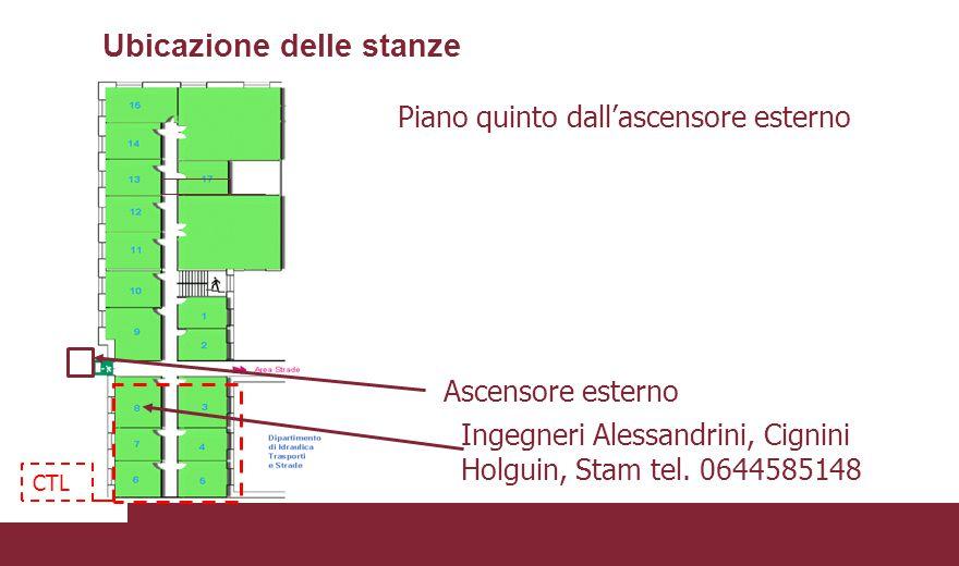 Ubicazione delle stanze Piano quinto dall'ascensore esterno Ascensore esterno Ingegneri Alessandrini, Cignini Holguin, Stam tel. 0644585148 CTL