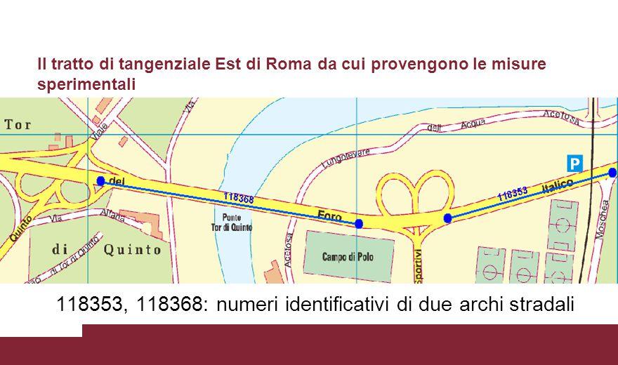 Il tratto di tangenziale Est di Roma da cui provengono le misure sperimentali 118353, 118368: numeri identificativi di due archi stradali