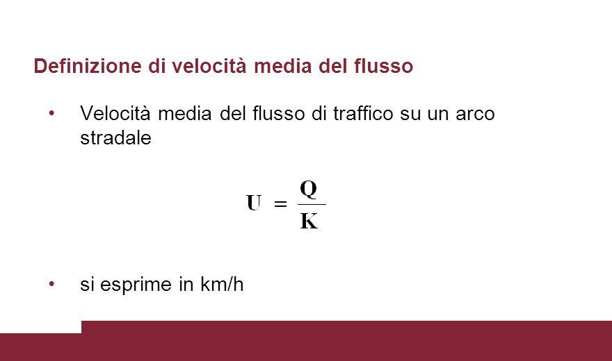 Definizione di velocità media del flusso Velocità media del flusso di traffico su un arco stradale si esprime in km/h