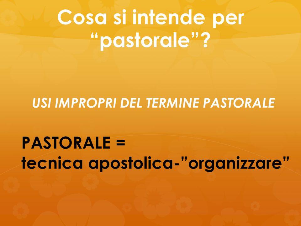 """Cosa si intende per """"pastorale""""? PASTORALE = tecnica apostolica-""""organizzare"""" USI IMPROPRI DEL TERMINE PASTORALE"""
