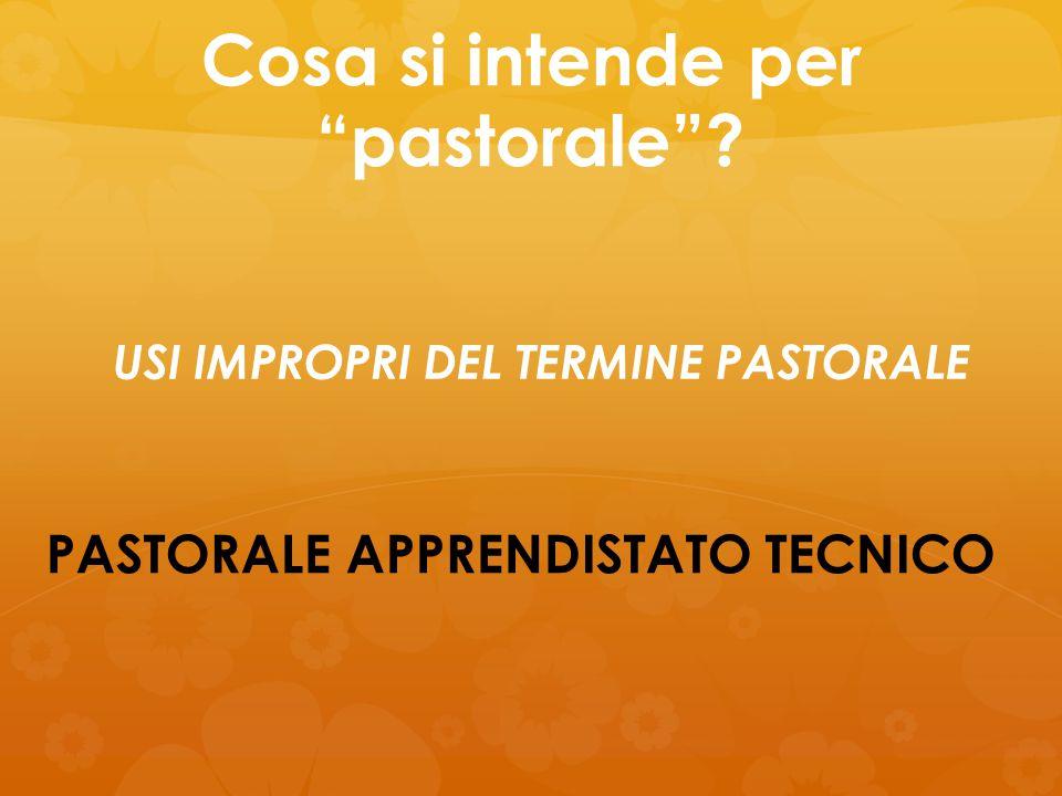 """Cosa si intende per """"pastorale""""? PASTORALE APPRENDISTATO TECNICO USI IMPROPRI DEL TERMINE PASTORALE"""