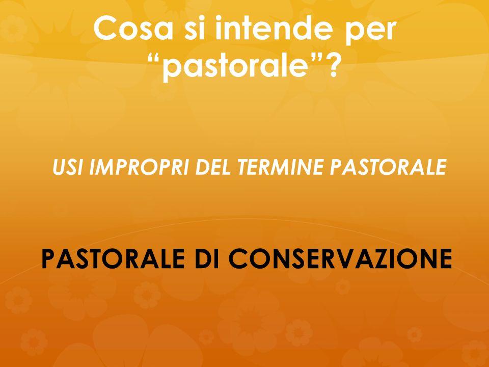 """Cosa si intende per """"pastorale""""? PASTORALE DI CONSERVAZIONE USI IMPROPRI DEL TERMINE PASTORALE"""