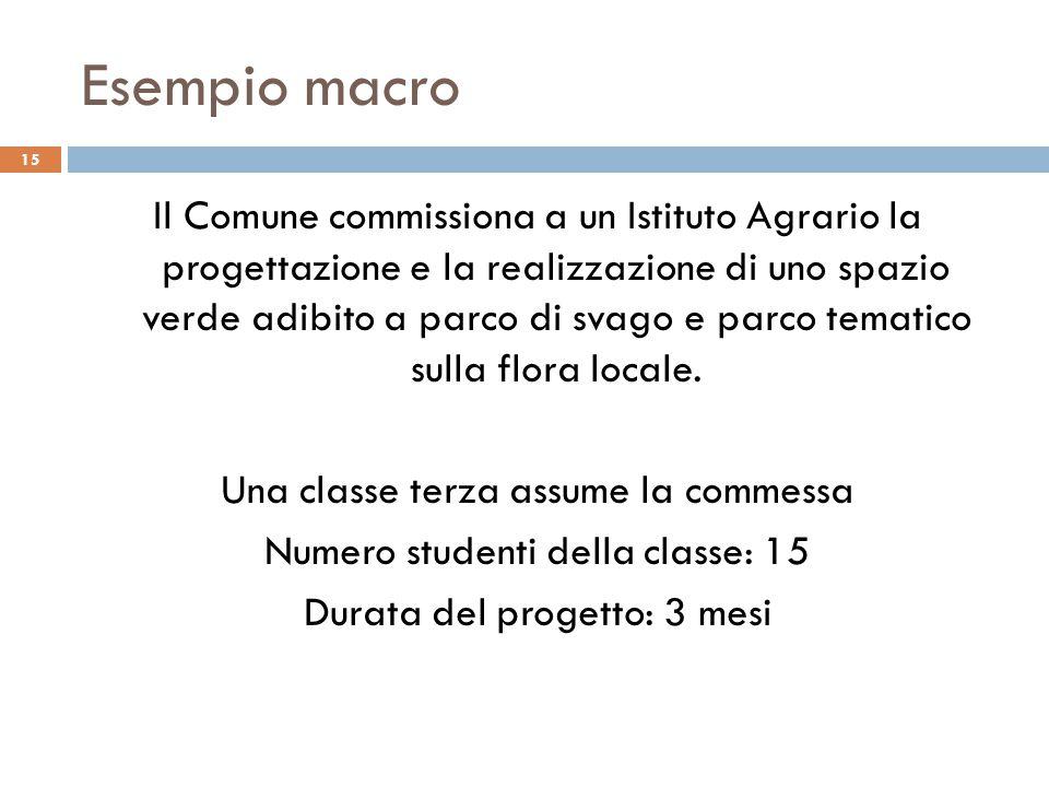 Esempio macro 15 Il Comune commissiona a un Istituto Agrario la progettazione e la realizzazione di uno spazio verde adibito a parco di svago e parco tematico sulla flora locale.