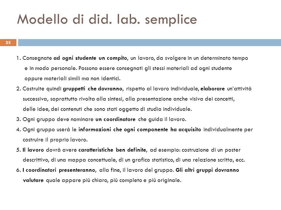 Modello di did. lab. semplice 25 1. Consegnate ad ogni studente un compito, un lavoro, da svolgere in un determinato tempo e in modo personale. Posson