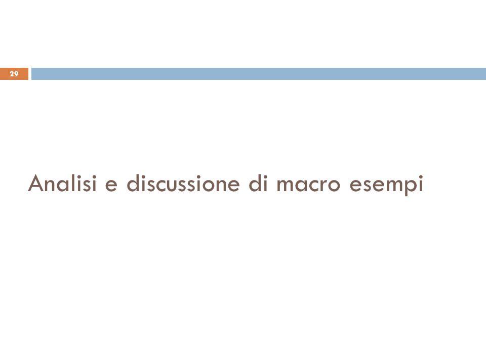 Analisi e discussione di macro esempi 29