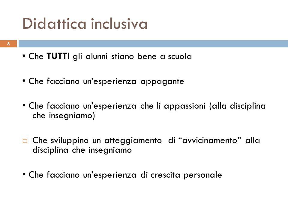 Didattica inclusiva 3 Che TUTTI gli alunni stiano bene a scuola Che facciano un'esperienza appagante Che facciano un'esperienza che li appassioni (all