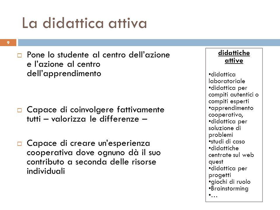 La didattica attiva 9  Pone lo studente al centro dell'azione e l'azione al centro dell'apprendimento  Capace di coinvolgere fattivamente tutti – va