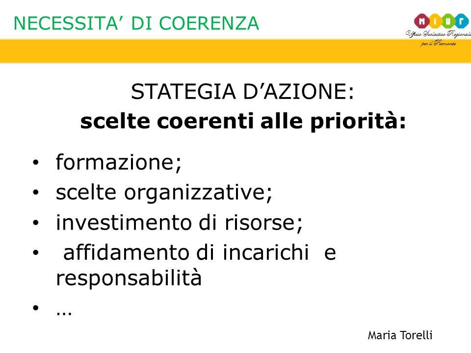 Ufficio Scolastico Regionale per il Piemonte NECESSITA' DI COERENZA Maria Torelli STATEGIA D'AZIONE: scelte coerenti alle priorità: formazione; scelte